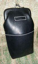 Vintage FOSSIL Black Pebbled Leather Cigarette Case Pouch Purse Classy 100's