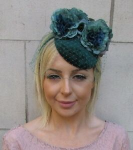 Image is loading Bottle-Emerald-Dark-Green-Birdcage-Veil-Flower-Fascinator- 2652d5254e9