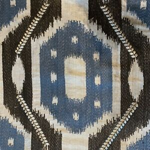 Decorator Fabric Embroidered Woven Geometric Blue Brown Silver Home Decor Sewing Ebay