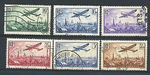 FRANCE-POSTE-AERIENNE-8-13-034-AVION-SURVOLANT-PARIS-6-TIMBRES-1936-034-OBLITERES-TB