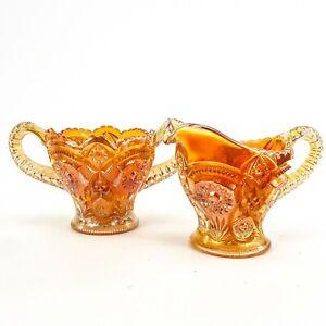 Vintage Carnival Glass Imperial Fashion Marigold Orange Creamer & Sugar Bowl Set