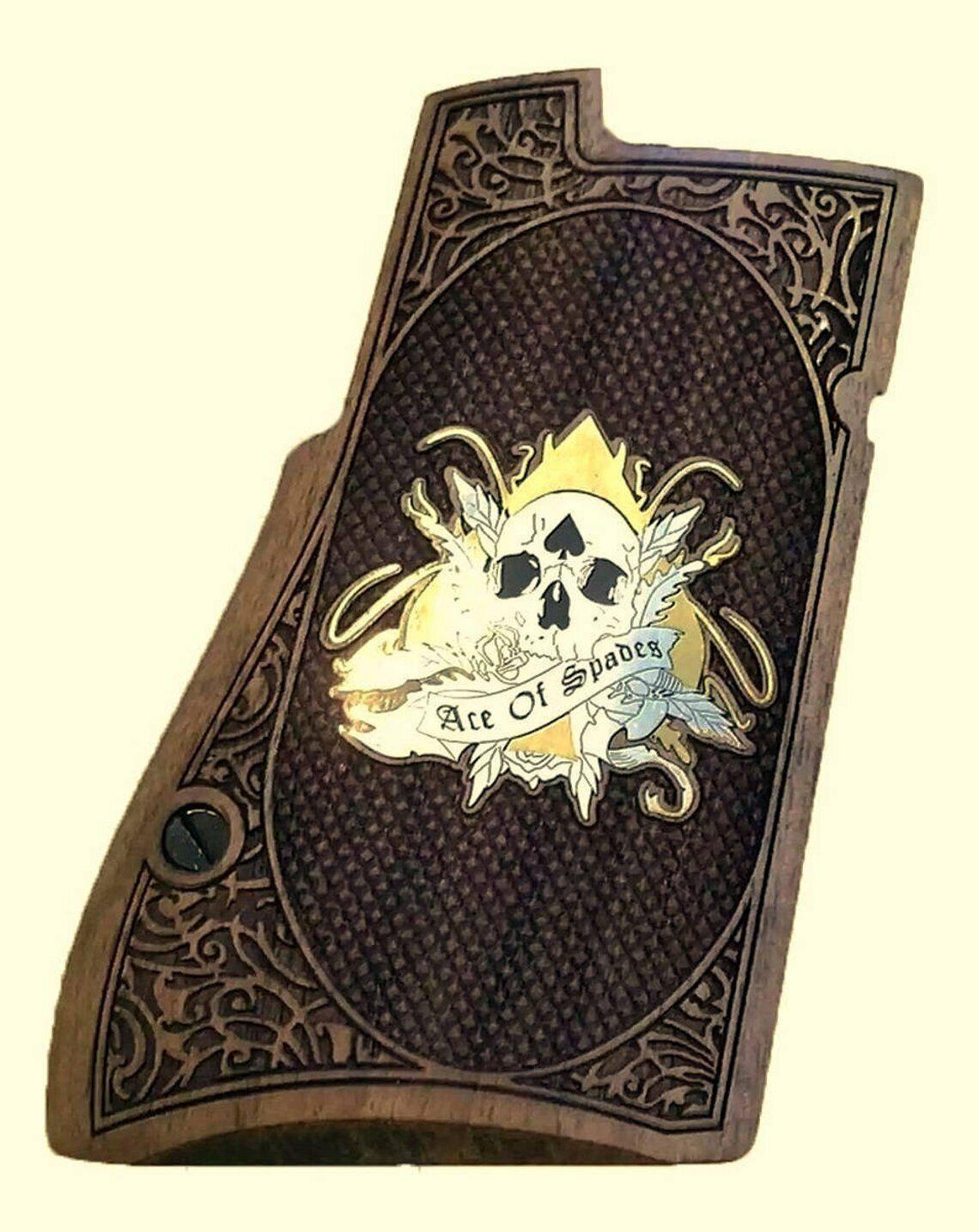 Desert Eagle apretones de nogal con logotipo Custo hace de latón y plata. (apretones te hacen).