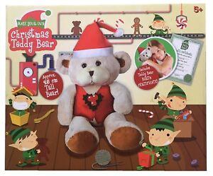 Enfants-Make-Your-Own-Noel-Ours-en-Peluche-25cm-Haut-Ensemble-de-Jeux-Noel