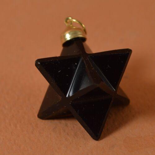 PENDENTIF Merkaba En Obsidienne