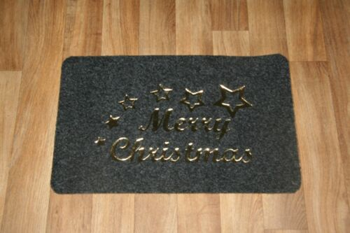 Indoor Outdoor 60CM X 38CM Christmas Door Rug Mat Gold Xmas Door Mat