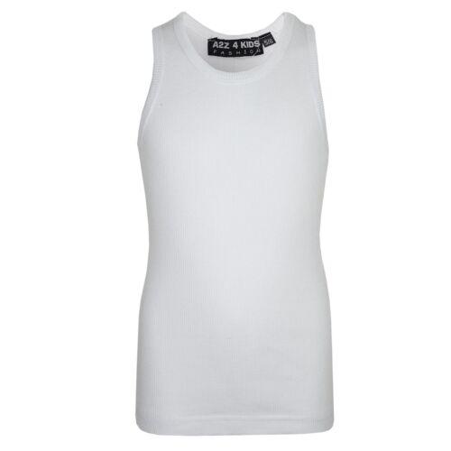Kids Girls Ribbed Vest Top White 100/% Cotton Fashion Tank Tops T Shirt 5-13 Year