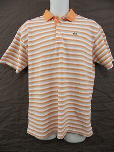 f6a07d49 Details about LACOSTE Mens 8 (US: XXL) Orange, Beige & White Striped Cotton  SS Polo Shirt