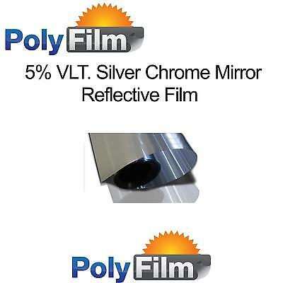 5% Silver Mirror Reflective Glass Window Solar Film 50cm x 30m Roll Bulk Tint