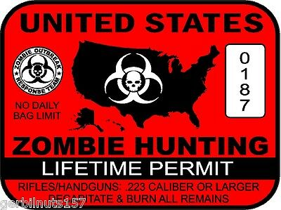 United States Zombie Hunting Permit sticker -- outbreak response team decal RED