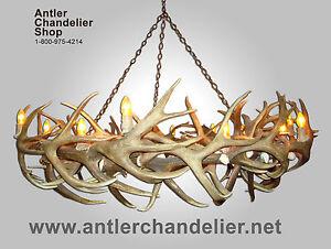 REAL ANTLER ROUND MULE DEER /ELK ROUND CHANDELIER 14 LIGHTS Rustic ...