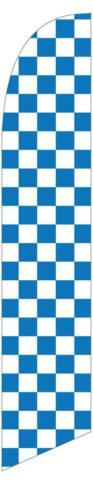 FLAG ONLY Blue and White Checkered 12ft Feather Banner Swooper Flag