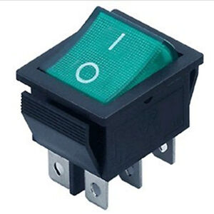 5pcs dpdt green indicator light 6 pin rocker switch ebay. Black Bedroom Furniture Sets. Home Design Ideas