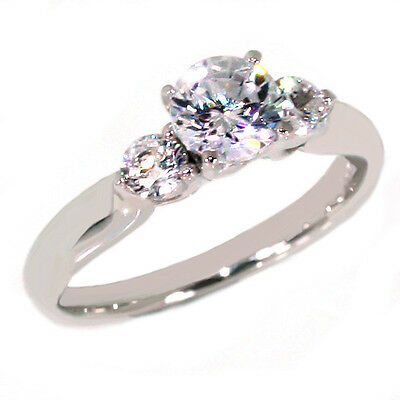 Womens Engagement Clear CZ 3 Three Stone Anniversary Ring .925 Sterling Silver