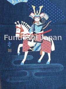 """Japanese 'NOREN' Print-Tapestry Wall-Hanging """"MOMOTARO"""" Indigo Made in Japan"""