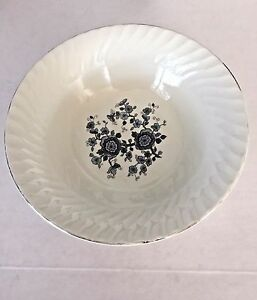Royal-Blue-Ironstone-Enoch-Cereal-Bowl-Wedgwood-Tunstall-England-Silver-Trim