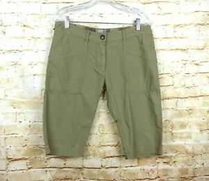 NWT-NSF-Womens-Utility-Patch-Cotton-Long-Bermuda-Shorts-Olive-Green-Size-4-110