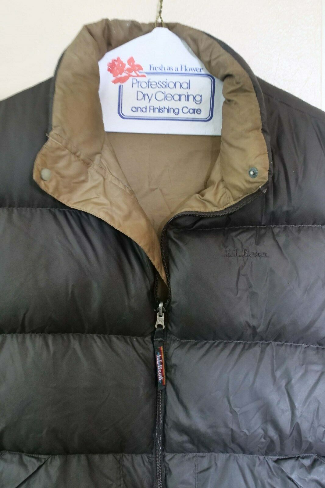 L L Bean Down Vest- Dark Brown With gold lining, size-M L (puffer)