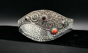 Vintage-Inlay-Filigree-Cuff-Bracelet-Coral-Amethyst-Gaspeite-Sterling-Silver