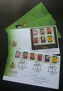 SJ-Malaysia-Garden-Flowers-Definitive-Kelantan-Sultan-2018-FDC-pair-signed