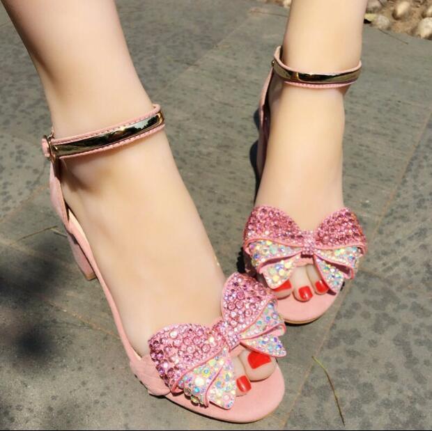 Sandalias de mujer con con con moño de cristal estrás correas en el Tobillo tacones gruesos zapatos de Color rosadodo  barato y de alta calidad