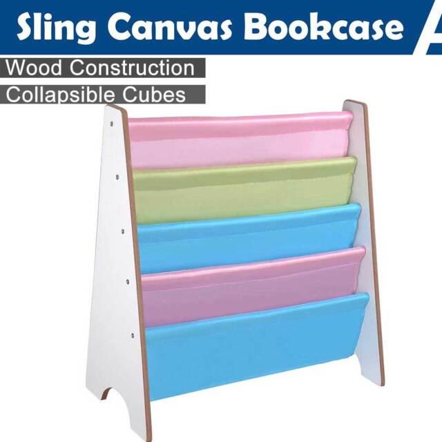 Wooden Sling Fabric Book Case Bookshelf Magazine Kids Children Bedroom Storage