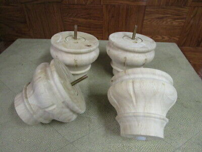 Set of 4 Med Cherry Finished Furniture Fluted  Bun Feet