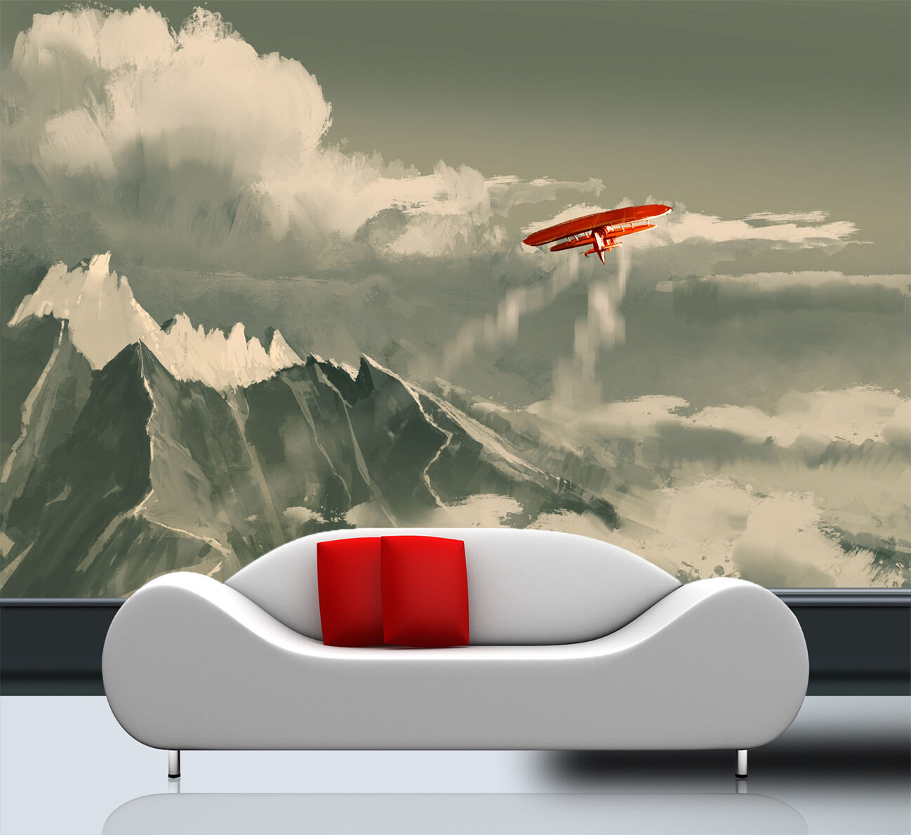 3D aircraft mountain painting Wall Paper Print Decal Wall Deco Indoor wall Mural