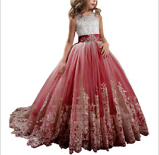 c559d36b74e ABAO Children s Girls  Lace Butterfly Bow Rhinestone Dress Flower Girl Ball  Gown