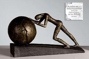 59598-Sculpture-Heavy-Ball-de-Poly-Effet-bronze-sur-fond-noir-Base-Hauteur
