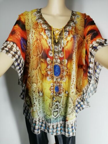NEW Tunic Crystals Bling Oversized Floaty Cool Softest Feel STUNNING Fits 14-18
