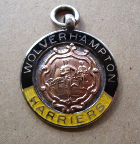 SILVER ENAMEL WOLVERHAMPTON HARRIERS ATHLETICS VINTAGE MEDAL FOB SOUTH STAFFS