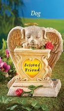 "Solar Powered Lighted ""Beloved Friend"" Angel Dog Memorial Garden Statue"
