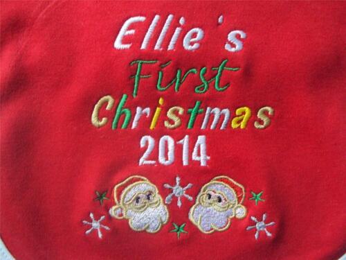 PERSONALISED FIRST CHRISTMAS BIB NEWBORN BABY XMAS GIFT STOCKING FILLER ANY YEAR