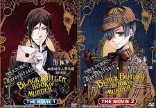 DVD ANIME Black Butler Kuroshitsuji Book of Murder The Movie 1 AND 2