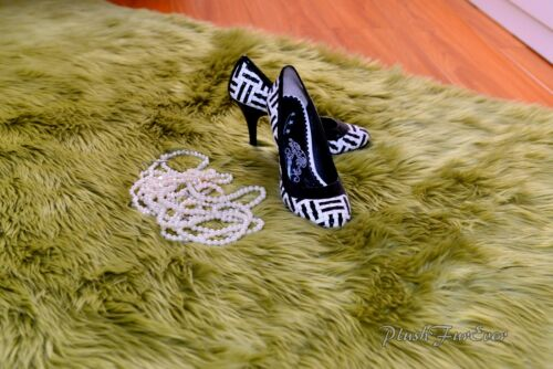 Olive Green Shaggy Faux Fur Rugs Accents Area Throws Nursery Decor Sheepskins