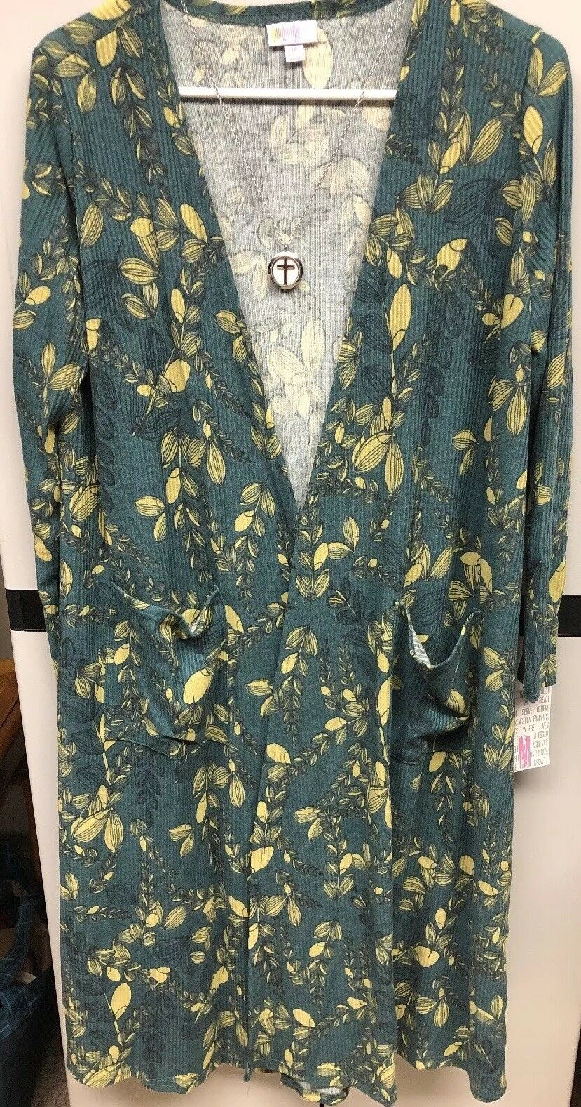 NWT LuLaRoe Medium Sarah Knit Cardigan Duster Green Light Yellow Floral