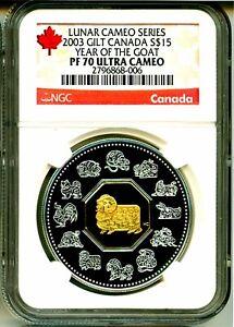 2003-Canada-15-Gilt-Lunar-Cameo-Series-Year-Of-The-Goat-NGC-PF70-UC-Box-COA-OGP