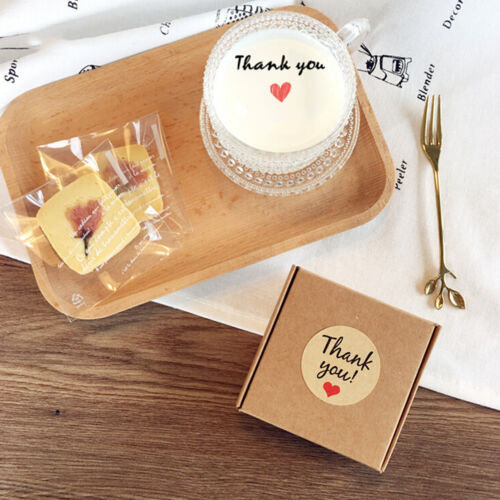 "60x Kraft Papers Love Heart /""Thank You/"" Stickers Decorative Baking Sealing Paste"
