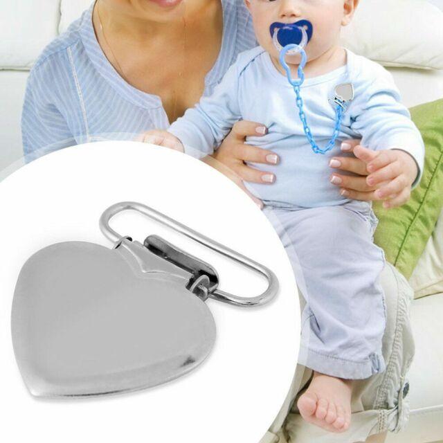 10pcs Cute Metal Peach Heart Suspender Braces Pacifier Clip Dummy Strap Brace CA