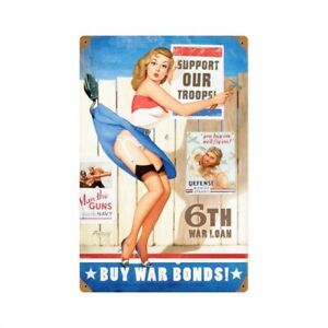 PLAQUE-DECORATIVE-SEXY-PIN-UP-WAR-BONDS-30-X-20-CM-DECO-USA-VINTAGE-SEXY