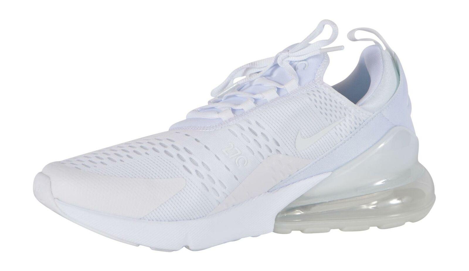New Nike Air Max 270 Men's Triple White Mesh Running Shoes AH8050 101