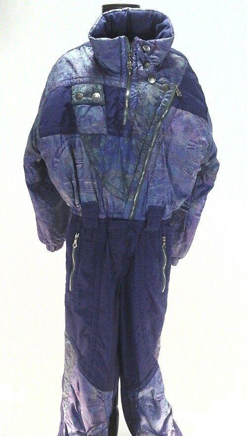 KAELIN Snow Suit Ski Bib Purple Vintage 80's Women's Winter Snowboard Size 6 36