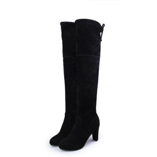 Women Leather Platform Round Toe Thigh High Over The Knee Boots High Heels Shoes