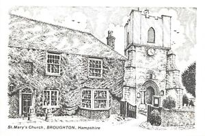 Art-Sketch-Postcard-St-Marys-Church-Broughton-Hampshire-by-Don-Vincent-AS1