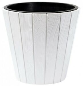 pflanzk bel gro 39cm pflanztopf blumenk bel kunststoff holzoptik mit einsatz ebay. Black Bedroom Furniture Sets. Home Design Ideas