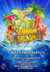 Children Personalised Hula Hawaii Beach Summer  Birthday Party invitations x 10