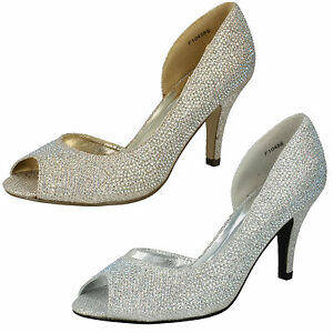 LADIES-ANNE-MICHELLE-PEEP-TOE-SPARKLY-DIAMANTES-COURT-SHOES-SILVER-GOLD-F10458