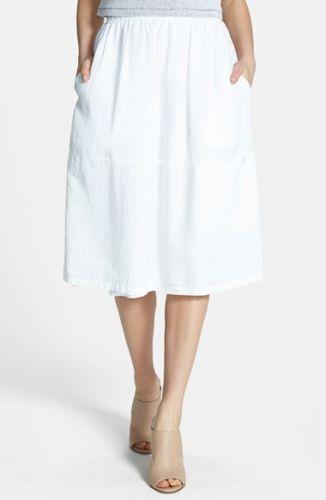 Eileen Fisher SKIRT  L   NWOT   248  Organic Linen Oval Skirt  White