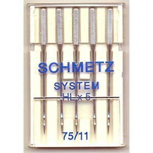Schmetz HLx5 SEWING NEEDLES HL x 5 90//14 Fits Janome 1600p /& HD9