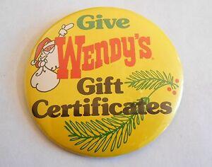 Vintage Wendy's Gift Certificates Santa Claus Advertising Pinback ...